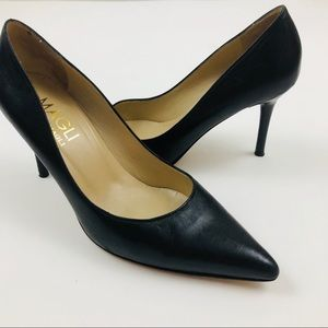 BRUNO MAGLI Gretta Black Leather Pointy Heels 6.5